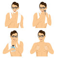 Four steps of man shaving his face Royalty Free Stock Photo