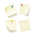 Four sticky notes with push pins Royalty Free Stock Photo
