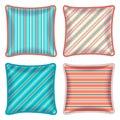 Four striped throw pillows Royalty Free Stock Photo
