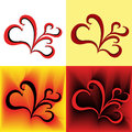 Four stylized swirl images as a hearts similar in different colors hand drawing vector illustration Royalty Free Stock Photo