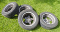 Four summer tires with alloy wheels Royalty Free Stock Photo