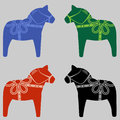 Four Swedish Dala Horses Royalty Free Stock Photo