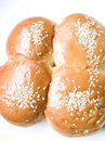 Four sweet buns with sesame seed Stock Photos