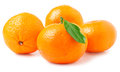 Four tangerine with leaf on a white background Royalty Free Stock Photo