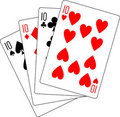Four tens poker Royalty Free Stock Photos