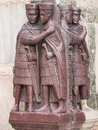 Four tetrarchs statue the at the entrance of the doge s palace in venice Royalty Free Stock Photos