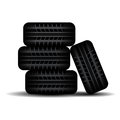 Four Tire tracks in stock Royalty Free Stock Photo