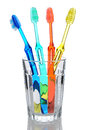 Four Toothbrushes in Glass Stock Photos