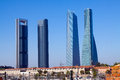 Four Towers Business Area from railroad. Madrid Royalty Free Stock Photo