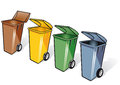 Four trash bins rubbish or with open lids and wheels in brown yellow green and gray blue plastic isolated upon white background Stock Photos