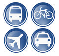 Four travel and transportation icons Stock Image