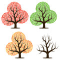 Four trees with green, red, yellow leaves and without leaves.