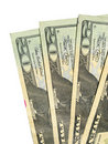 Four twenty US dollar bills Stock Photos
