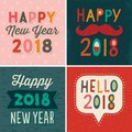 Four typographic card designs happy new year 2018 Royalty Free Stock Photo