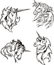 Four unicorn sketches Stock Images