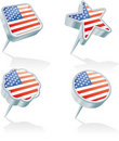 Four USA pins Stock Images