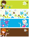 Four varied banners headers featuring fun flirty retro style girls retro flowers bright zingy colours Royalty Free Stock Images