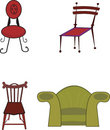 Four vector chairs Royalty Free Stock Image