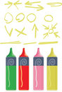 Four vector highlighter marker pens and highlights Royalty Free Stock Image