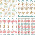 Four vector seamless pattern of seashell, starfish,coral and se