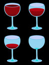 Four Vector Wineglasses on Black Stock Photos