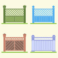 Four versions of a fence, vector. Royalty Free Stock Photo