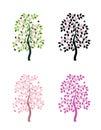 Four versions of flowering tree