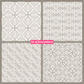 Four vintage patterns set of seamless natural Stock Photos