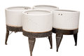 Four vintage wash tubs isolated on white Royalty Free Stock Photo