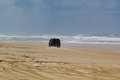 Four wheel drive on mile beach vehicle fraser island australia Royalty Free Stock Images