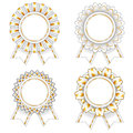 Four white and gold rosettes set of blank isolated Stock Photos
