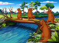 Four wild animals at the riverside illustration of Stock Image