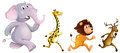 Four wild animals running illustration of the on a white background Royalty Free Stock Images