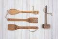 Four Wood Kitchens Utensils