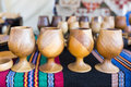 Four wooden cups Royalty Free Stock Photo