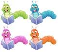 Four worms reading Royalty Free Stock Photo