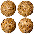 Four Woven Bamboo Balls Stock Images