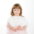 Four year girl in a beautiful pink dress with a fan it is on white background Stock Images