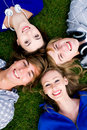 Four young friends Stock Image