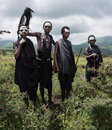 Four young Maasai boys who are coming of age to be junior warriors Royalty Free Stock Photo