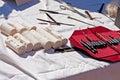 Fournitures médicales antiques Photos stock