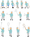 Fourteen figures of vector kid playing badminton Stock Photo