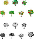 Fourteen fruits tree icons of the trees of colorful such as an apple grapes Royalty Free Stock Image