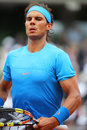 Fourteen times grand slam champion rafael nadal during his second round match at roland garros paris france may in paris france Stock Photography