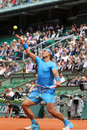 Fourteen times grand slam champion rafael nadal during his second round match at roland garros paris france may in paris france Royalty Free Stock Image