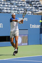 Fourteen times grand slam champion rafael nadal of spain practices for us open new york august at billie jean king national tennis Royalty Free Stock Image