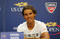 Fourteen times grand slam champion rafael nadal of spain during press conference before us open new york august Stock Photo