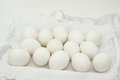 Fourteen white eggs on a napkin Stock Photo