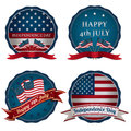 Fourth of july badges set usa badge decorations with flags isolated on white with transparencies Royalty Free Stock Image