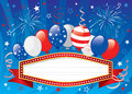 Fourth of july banner vector illustration balloons with ribbon objects are layered Stock Photo